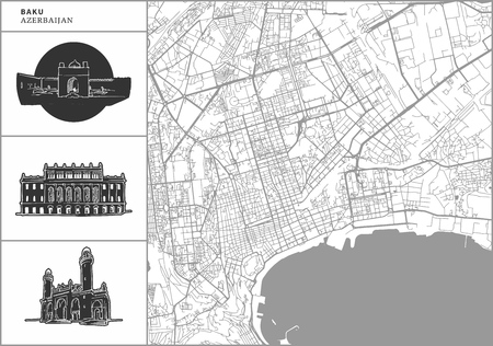 Baku city map with hand-drawn architecture icons. All drawigns, map and background separated for easy color change. Easy repositioning in vector version.