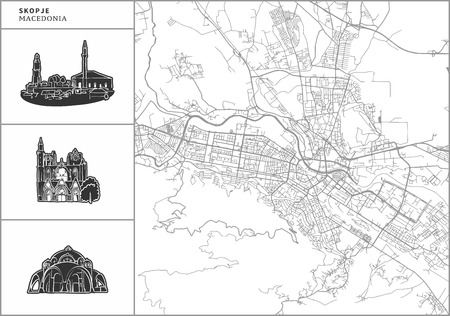 Skopje city map with hand-drawn architecture icons. All drawigns, map and background separated for easy color change. Easy repositioning in vector version. Illustration