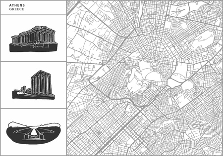 Athen-Stadtplan mit handgezeichneten Architekturikonen. Alle Zeichnungen, Karte und Hintergrund zum einfachen Farbwechsel getrennt. Einfache Neupositionierung in der Vektorversion. Vektorgrafik