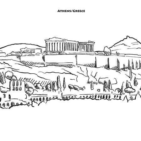 Zeichnung der Athener Akroplolis. Handgezeichnete Vektorskizze des berühmten Parthenons.