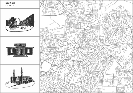 Nicosia city map with hand-drawn architecture icons. All drawigns, map and background separated for easy color change. Easy repositioning in vector version. Illustration