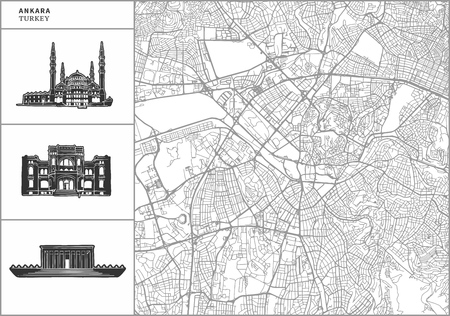 Ankara city map with hand-drawn architecture icons. All drawigns, map and background separated for easy color change. Easy repositioning in vector version.
