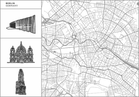 Berlin city map with hand-drawn architecture icons. All drawigns, map and background separated for easy color change. Easy repositioning in vector version.