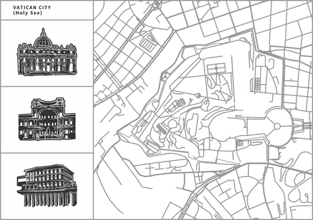 Vatican city map with hand-drawn architecture icons. All drawigns, map and background separated for easy color change. Easy repositioning in vector version.