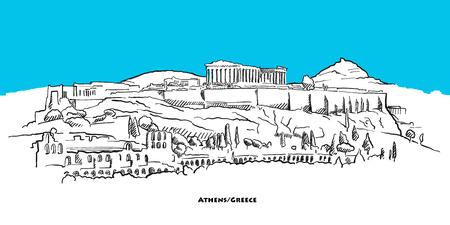 Athen Akropolis Wahrzeichen Banner mit blauem Himmel. Handgezeichnete Vektorskizze.