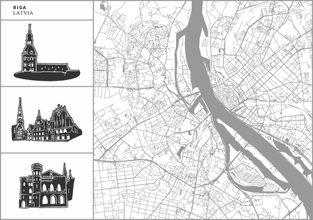Riga city map with hand-drawn architecture icons. All drawigns, map and background separated for easy color change. Easy repositioning in vector version.