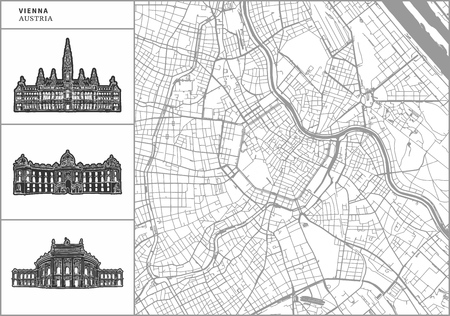 Vienna city map with hand-drawn architecture icons. All drawigns, map and background separated for easy color change. Easy repositioning in vector version. Vector Illustratie