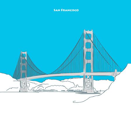 Two-toned landmark of Golden Gate Bridge near san francisco. Hand-drawn vector sketch.