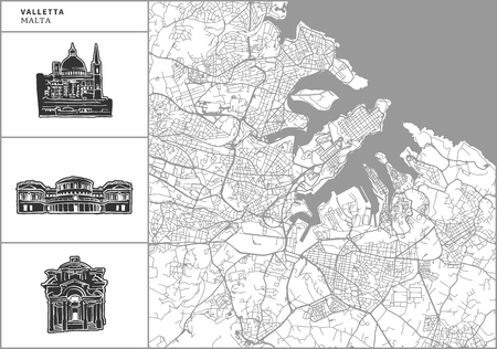 Valletta city map with hand-drawn architecture icons. All drawigns, map and background separated for easy color change. Easy repositioning in vector version.
