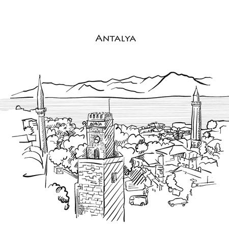 Antalya Travel Sketch. Hand-drawn vector illustration of Antalya old town. Иллюстрация