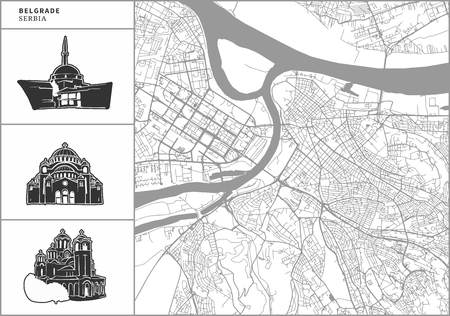 Belgrade city map with hand-drawn architecture icons. All drawigns, map and background separated for easy color change. Easy repositioning in vector version. Illustration