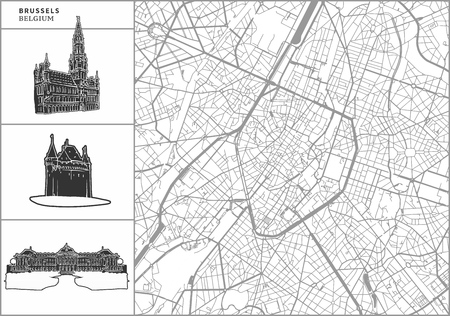 Brussels city map with hand-drawn architecture icons. All drawigns, map and background separated for easy color change. Easy repositioning in vector version. Иллюстрация