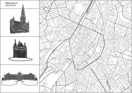 Stadsplan van Brussel met handgetekende architectuurpictogrammen. Alle tekentekens, kaart en achtergrond gescheiden voor eenvoudige kleurwisseling. Eenvoudige herpositionering in vectorversie.