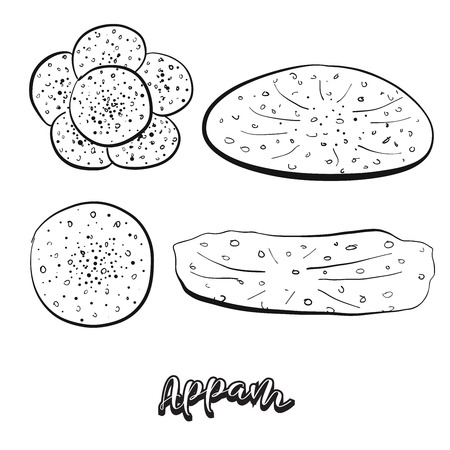 Hand drawn sketch of Appam food. Vector drawing of Varies widely food, usually known in India, Kerala, Sri Lanka. Bread illustration series. Ilustração