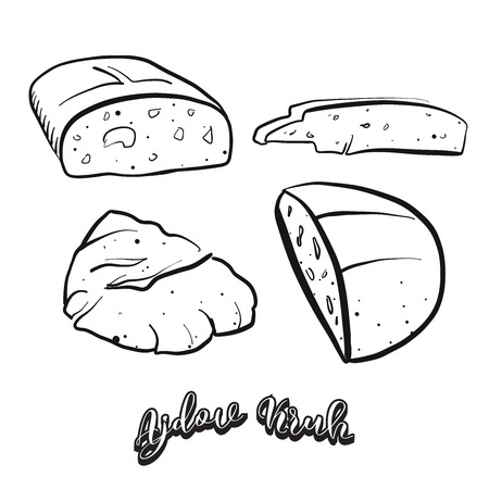 Hand drawn sketch of Ajdov Kruh food. Vector drawing of Buckwheat bread food, usually known in Slovenia. Bread illustration series.