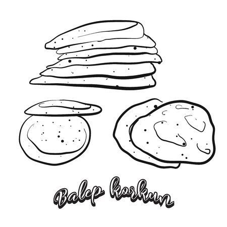 Hand drawn sketch of Balep korkun food. Vector drawing of Flatbread food, usually known in Tibet. Bread illustration series.