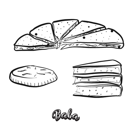 Hand drawn sketch of Baba food. Vector drawing of Various thick, round breads food, usually known in China, Yunnan, naxi, people,. Bread illustration series.