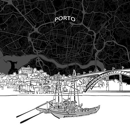 Hand drawn sketch of Porto food. Vector drawing of Skyline, Portugal. Black and white illustration concept. Ilustração