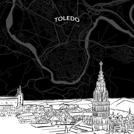 Hand drawn sketch of Toledo food. Vector drawing of skyline with map, Spain. Black and white illustration concept. Illustration