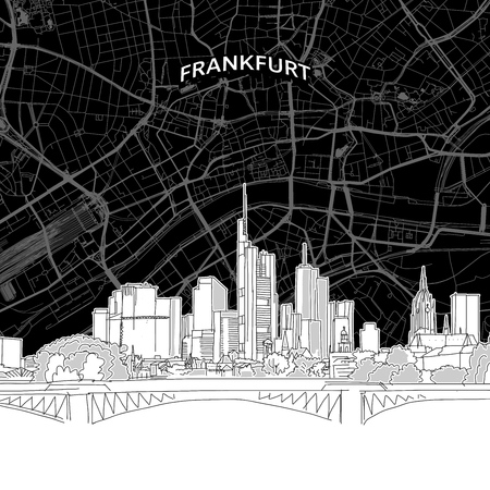Vector drawing of Frankfurt skyline with map Germany. Black and white illustration concept.