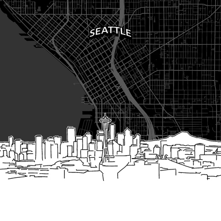 Hand drawn sketch of Seattle food. Vector drawing of skyline with map, USA. Black and white illustration concept.