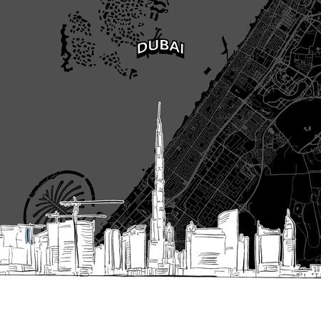 Schizzo disegnato a mano del cibo di Dubai. Disegno di skyline con mappa, Emirati Arabi Uniti vettoriale. Concetto di illustrazione in bianco e nero. Vettoriali