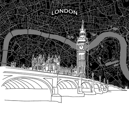 Vector drawing of London skyline with map. United Kingdom travel landmark. Black and white cover and background concept.