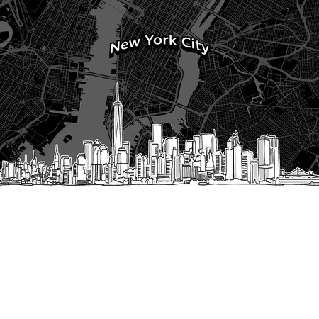 Vector drawing of New York City skyline with map. USA travel landmark. Black and white cover and background concept.