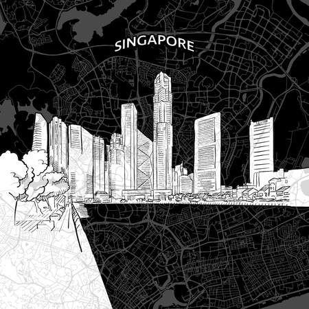 Vector drawing of Singapore skyline with map.  travel landmark. Black and white cover and background concept.