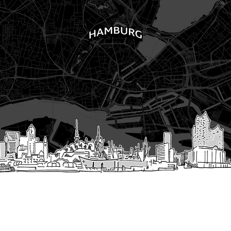 Hand drawn sketch of Hamburg food. Vector drawing of skyline with map, Germany. Black and white illustration concept.