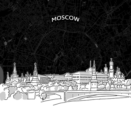 Vector drawing of Moscow skyline with map. Russia travel landmark. Black and white cover and background concept. Illustration