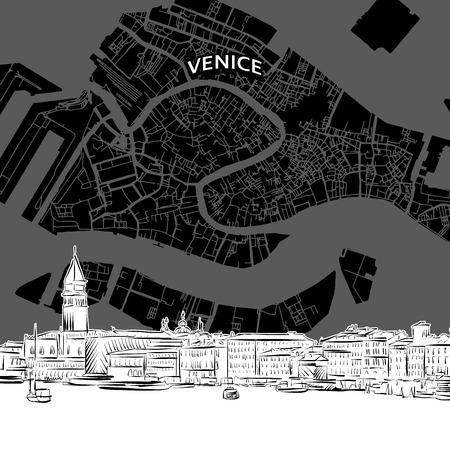 Schizzo disegnato a mano di Venezia con mappa. Vettore di disegno dell'orizzonte, Italia. Concetto di illustrazione in bianco e nero. Vettoriali