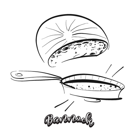 Hand drawn sketch of Bannock bread. Vector drawing of Flatbread food, usually known in United Kingdom, Scotland. Bread illustration series.