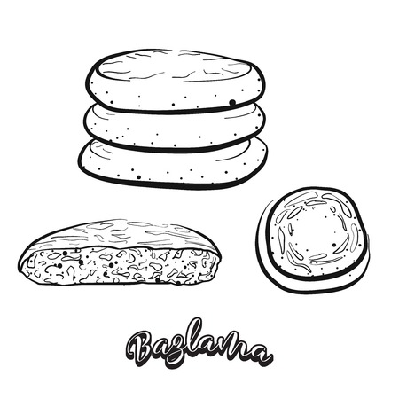 Hand drawn sketch of bazlama bread. Vector drawing of flatbread food, usually known in Turkey. Bread illustration series.