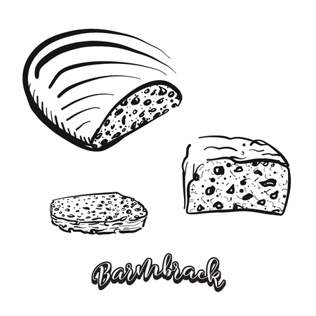 Hand drawn sketch of Barmbrack bread. Vector drawing of Yeast bread food, usually known in Ireland. Bread illustration series.