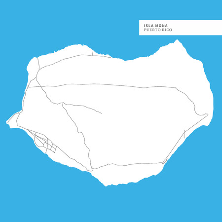 Map of Isla Mona, Puerto Rico, contains geography outlines for land mass, water, major roads and minor roads.