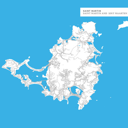 Map of Saint Martin Island,Saint Martin and Sint Maarten, contains geography outlines for land mass, water, major roads and minor roads.