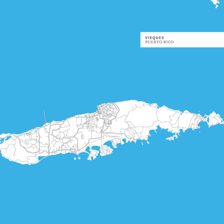 Map of Vieques Island, Puerto Rico, contains geography outlines for land mass, water, major roads and minor roads.