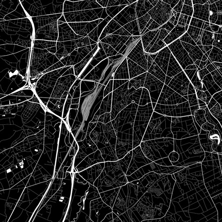 Area map of  Forest, Belgium. Dark background version for infographic and marketing. This map of  Forest, Brussels-Capital Region, contains streets, waterways and railways.