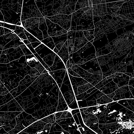 Area map of  Beringen, Belgium. Dark background version for infographic and marketing. This map of  Beringen, Flemish Region, contains streets, waterways and railways.