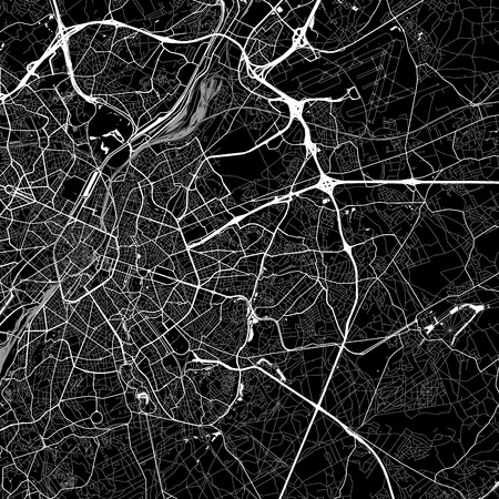 Area map of  Woluwe-Saint-Lambert, Belgium. Dark background version for infographic and marketing. This map of  Woluwe-Saint-Lambert, Brussels-Capital Region, contains streets, waterways and railways.