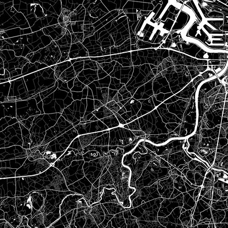 Area map of  Sint-Niklaas, Belgium. Dark background version for infographic and marketing. This map of  Sint-Niklaas, Flemish Region, contains streets, waterways and railways.