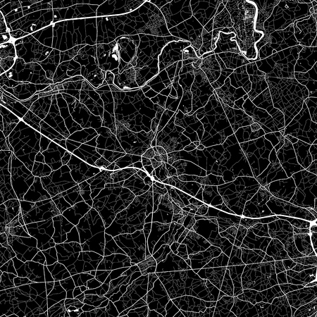 Area map of  Aalst, Belgium. Dark background version for infographic and marketing. This map of  Aalst, Flemish Region, contains streets, waterways and railways.