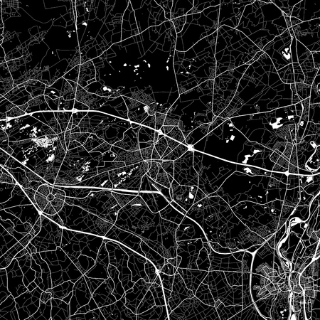 Area map of Genk, Belgium. Dark background version for infographic and marketing. This map of Genk, Flemish Region, contains streets, waterways and railways. Ilustrace