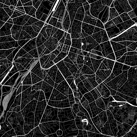 Area map of Ixelles, Belgium. Dark background version for infographic and marketing. This map of Ixelles, Brussels Capital, contains streets, waterways and railways. Ilustrace