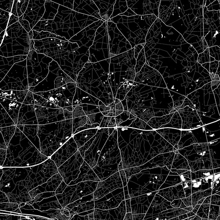Area map of Turnhout, Belgium. Dark background version for infographic and marketing. This map of Turnhout, Flemish Region, contains streets, waterways and railways.