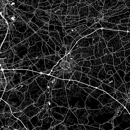 Area map of Leuven, Belgium. Dark background version for infographic and marketing. This map of Leuven,Flemish Region, contains streets, waterways and railways.