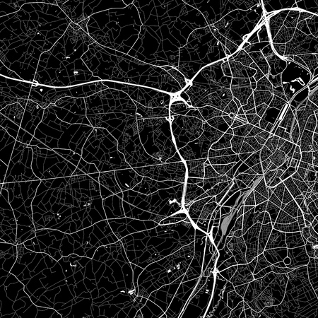 Area map of Dilbeek, Belgium. Dark background version for infographic and marketing. This map of Dilbeek, Flemish Region, contains streets, waterways and railways.