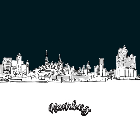Hamburg skyline, outline. Vector drawing of skyline, outline, Germany. Black and white illustration concept.