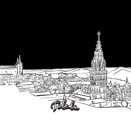 Toledo skyline, outline. Vector drawing of skyline, outline, Spain. Black and white illustration concept.